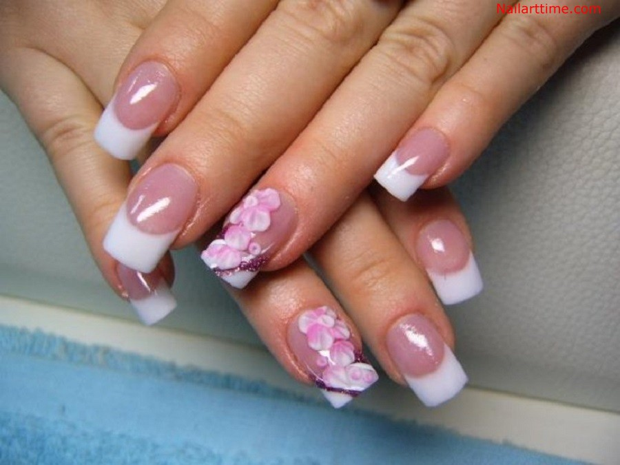 White French Tip Nail Art With Acrylic Flowers Design
