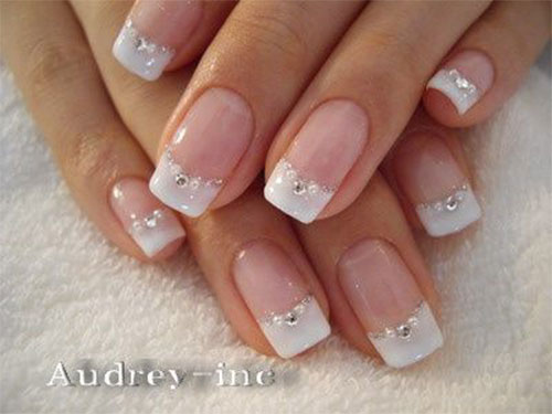 White French Tip Nail Art With Rhinestones