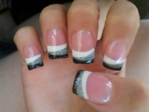 White Silver And Black French Tip Nail Art