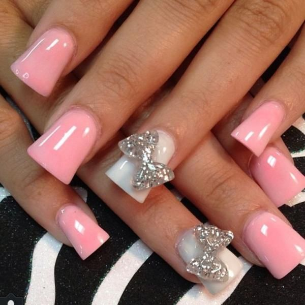 Baby Pink Acrylic Nail Art With Accent 3d Bow Design