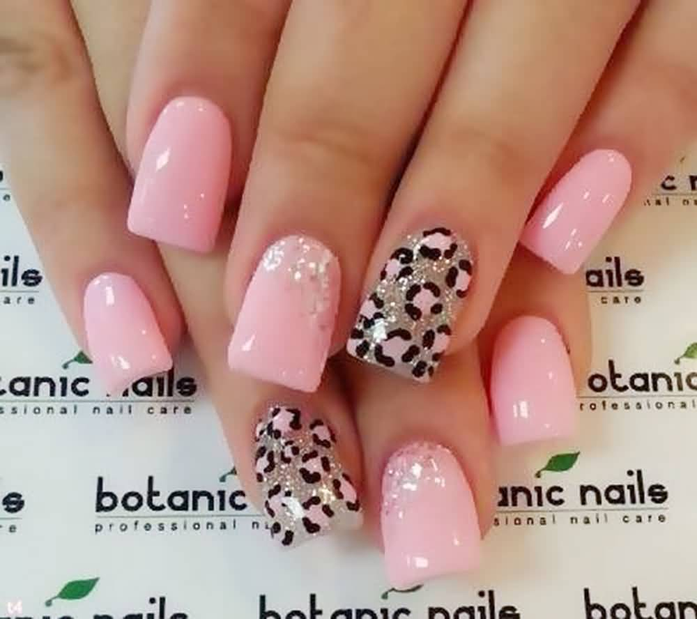 Baby Pink Nails With Accent Leopard Print Nail Art