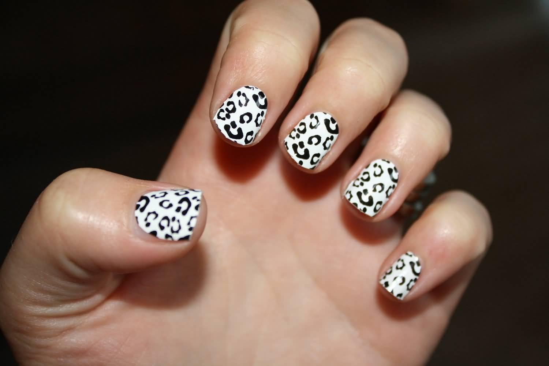 Black And White Leopard Print Nail Art