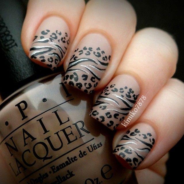 Leopard Print And Stripes Design Nail Art