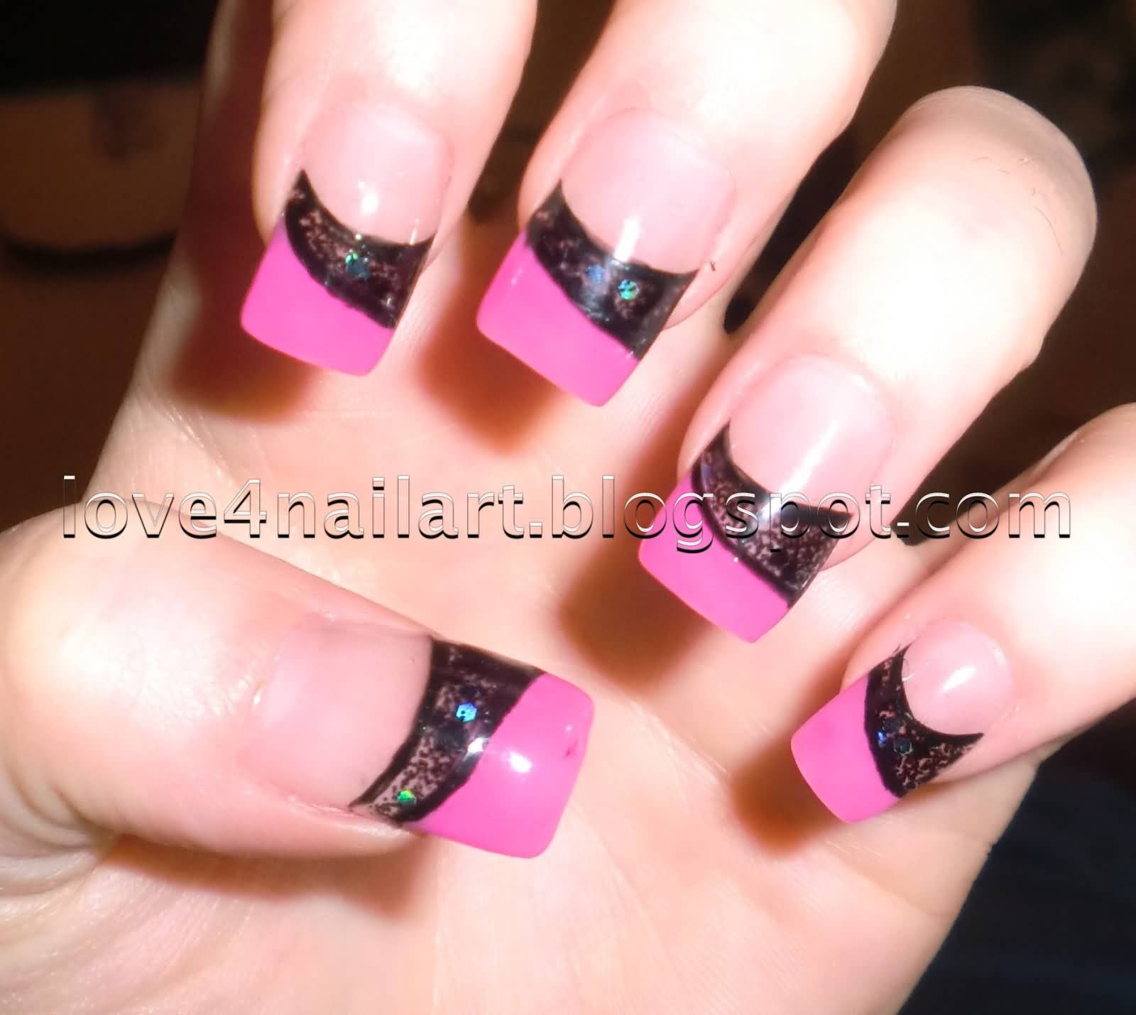 Pink And Black French Tip Acrylic Nail Art