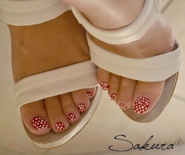 Red Toe Nails With White Dots Nail Art