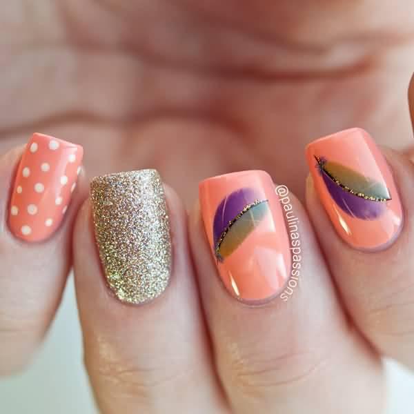 Peach Color Caviar Nail Art