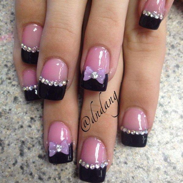 Nail Art Black French Tip Flower Studs
