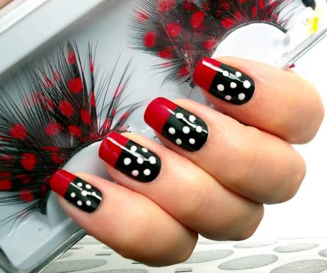 Cly Dotted Red And Black Nail Art