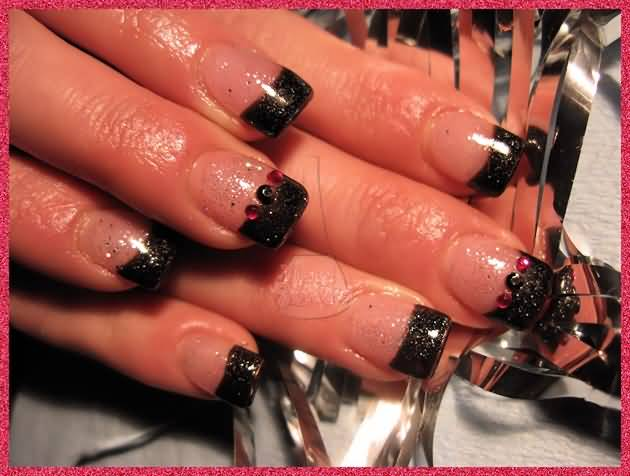 Black Glitter French Tip Nail Art With Red Rhinestones Design Idea