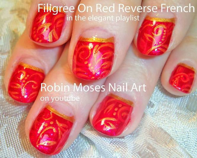 Red Tip Nail Designs Pic