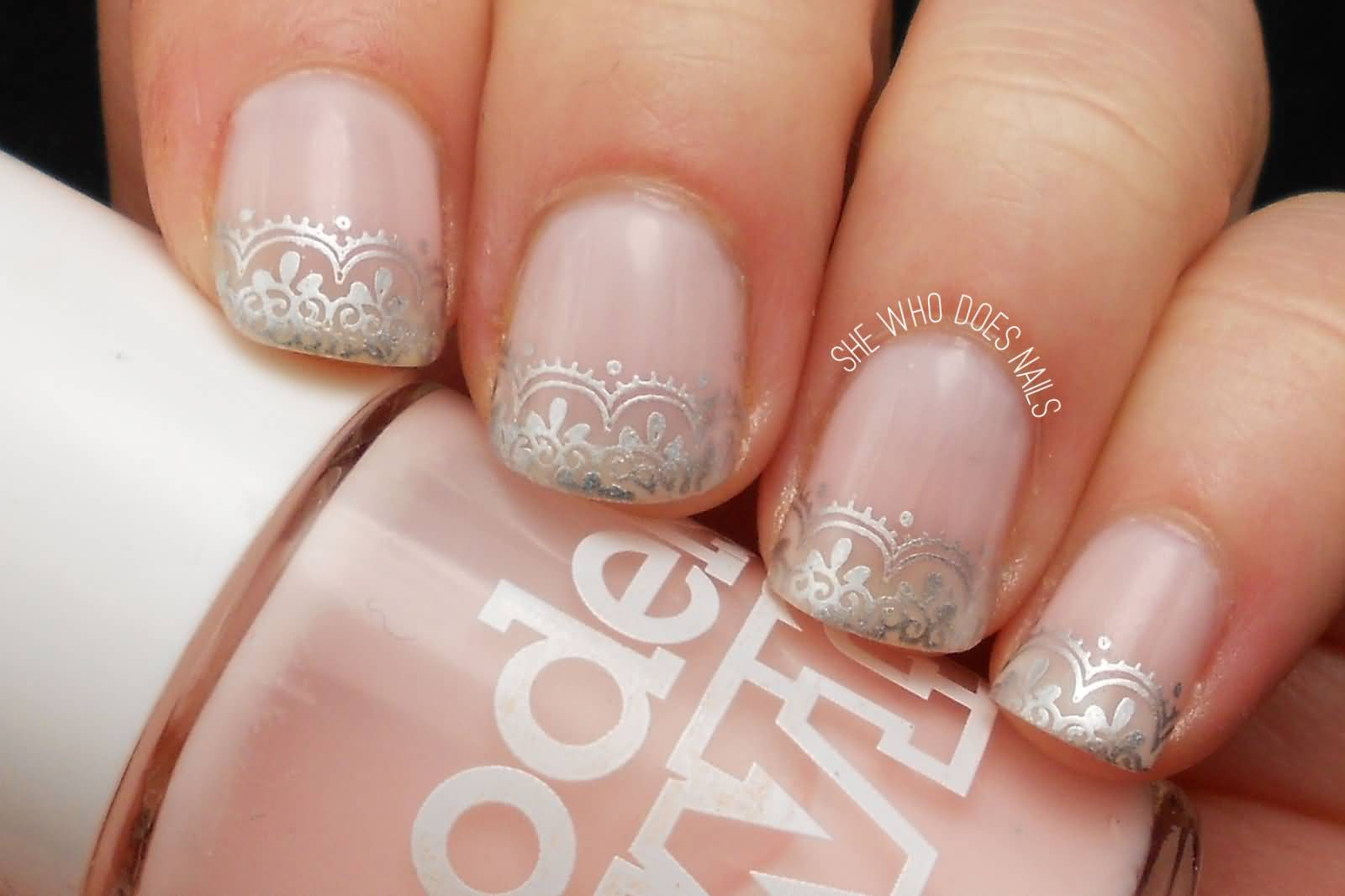 French Tip Lace Design Wedding Nail Art