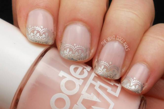 Long Acrylic French Tip Glitter Nails