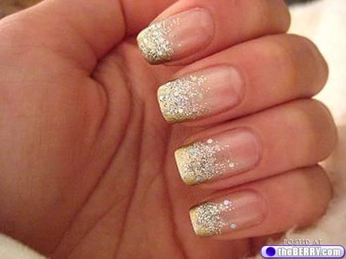 Gold Glitter French Tip Wedding Nail Art