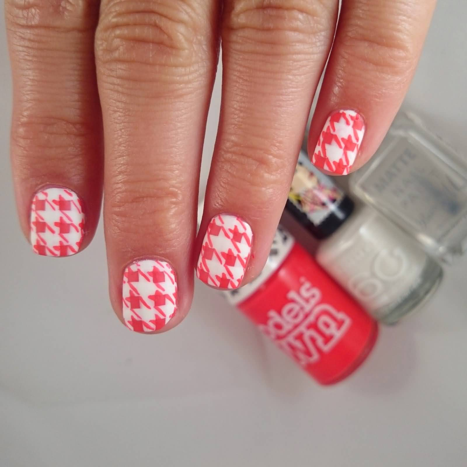 Pink And White Houndstooth Nail Art Design Idea