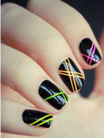 Prev Next Stripes Dots Nail Art