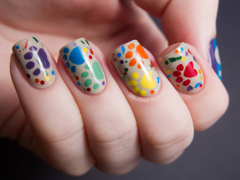 Multicolor Dog Paw Prints Nail Art