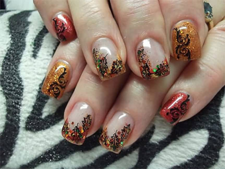 Amazing Tip Autumn Leaves Nail Art Design Idea