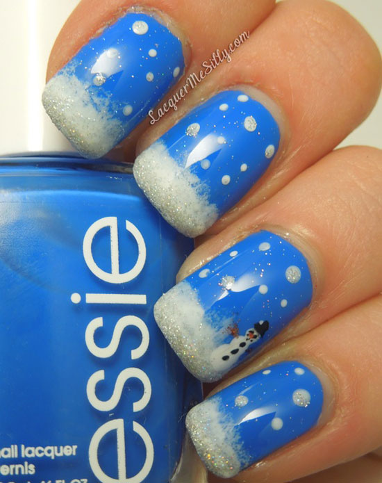 Blue Nails With White Polka Dots And Tip Snowman Winter Nail Art