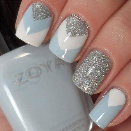 Blue White And Grey Glitter Gel Winter Nail Art