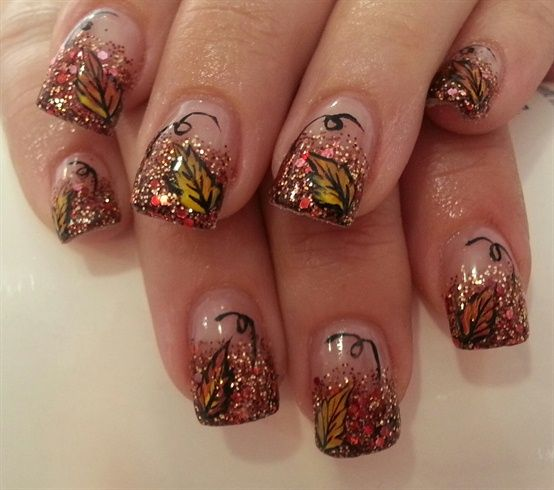 Glitter French Tip With Fallen Autumn Leaves Nail Art