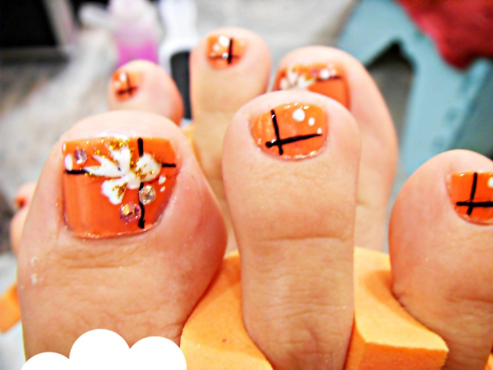 Orange Toe Nail Art