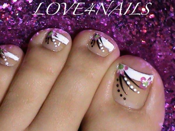White Tip Toe Nail Art With Black Stripes Design