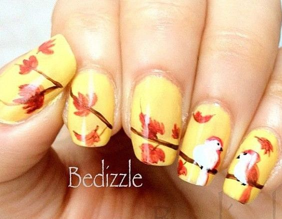 Yellow Nails With Autumn Fallen Leaves And Birds Design Nail Art