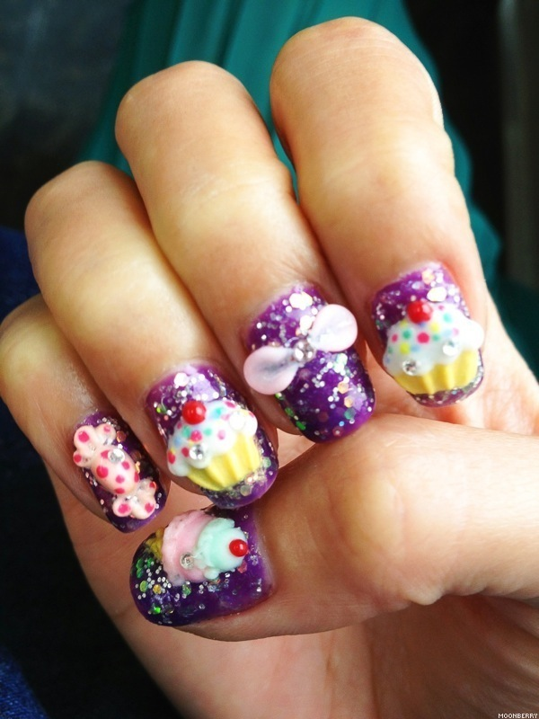 3d Cupcakes And Bow Design Nail Art