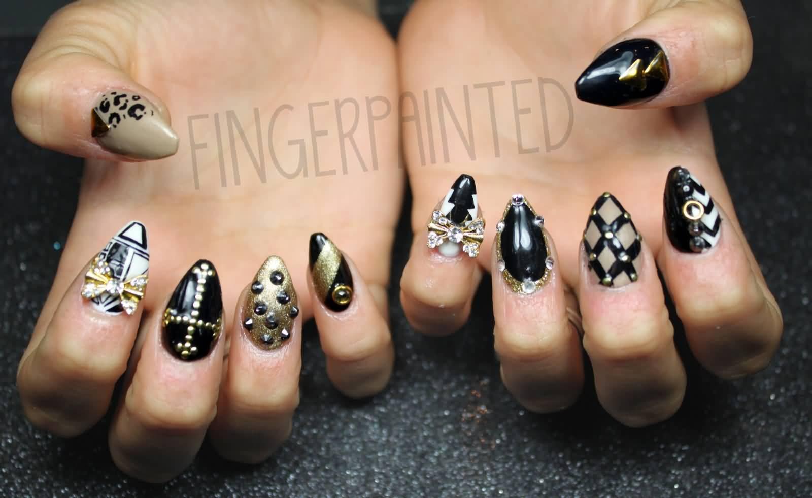 Beautiful 3d Black And Gold Sti Nail Art Designs