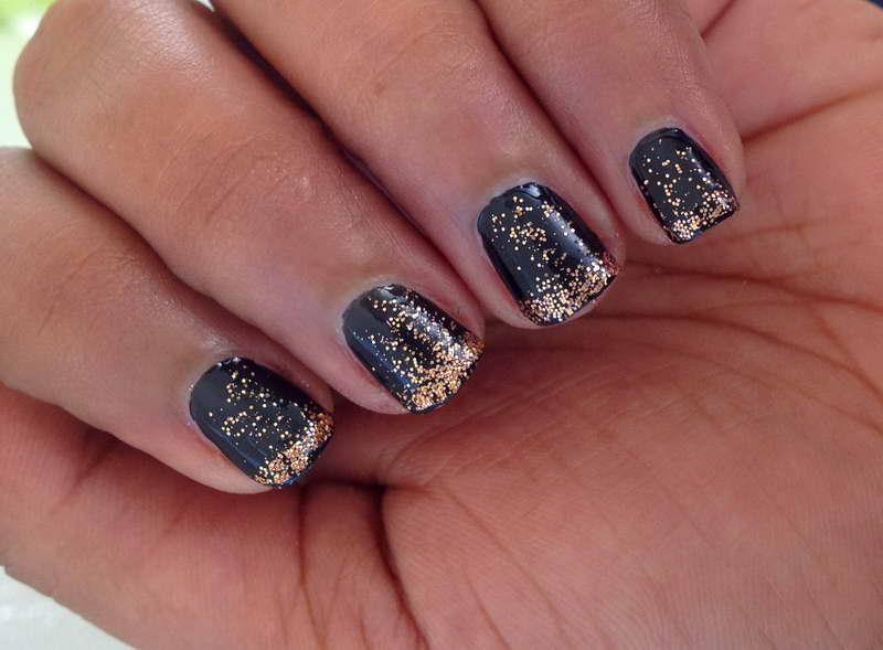 Black Nails With Gold Glitter Nail Art Design Idea