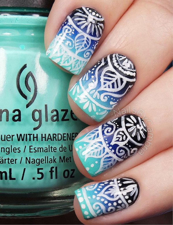 Black And White Blue Nail Art Pink Red Roses Rose