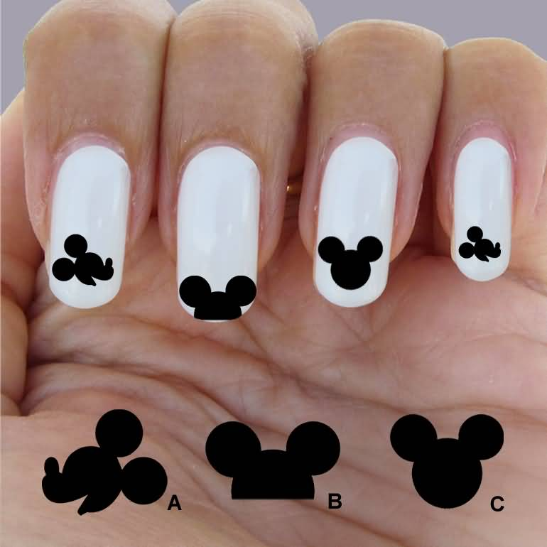Black Silhouette Mickey Mouse Cartoon Nail Art
