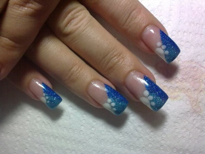 White Tip Nails With Blue Fl Design Idea
