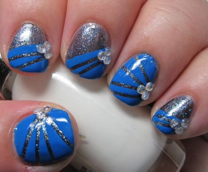 Cute Blue Fl Nail Art Design With As The Base Color