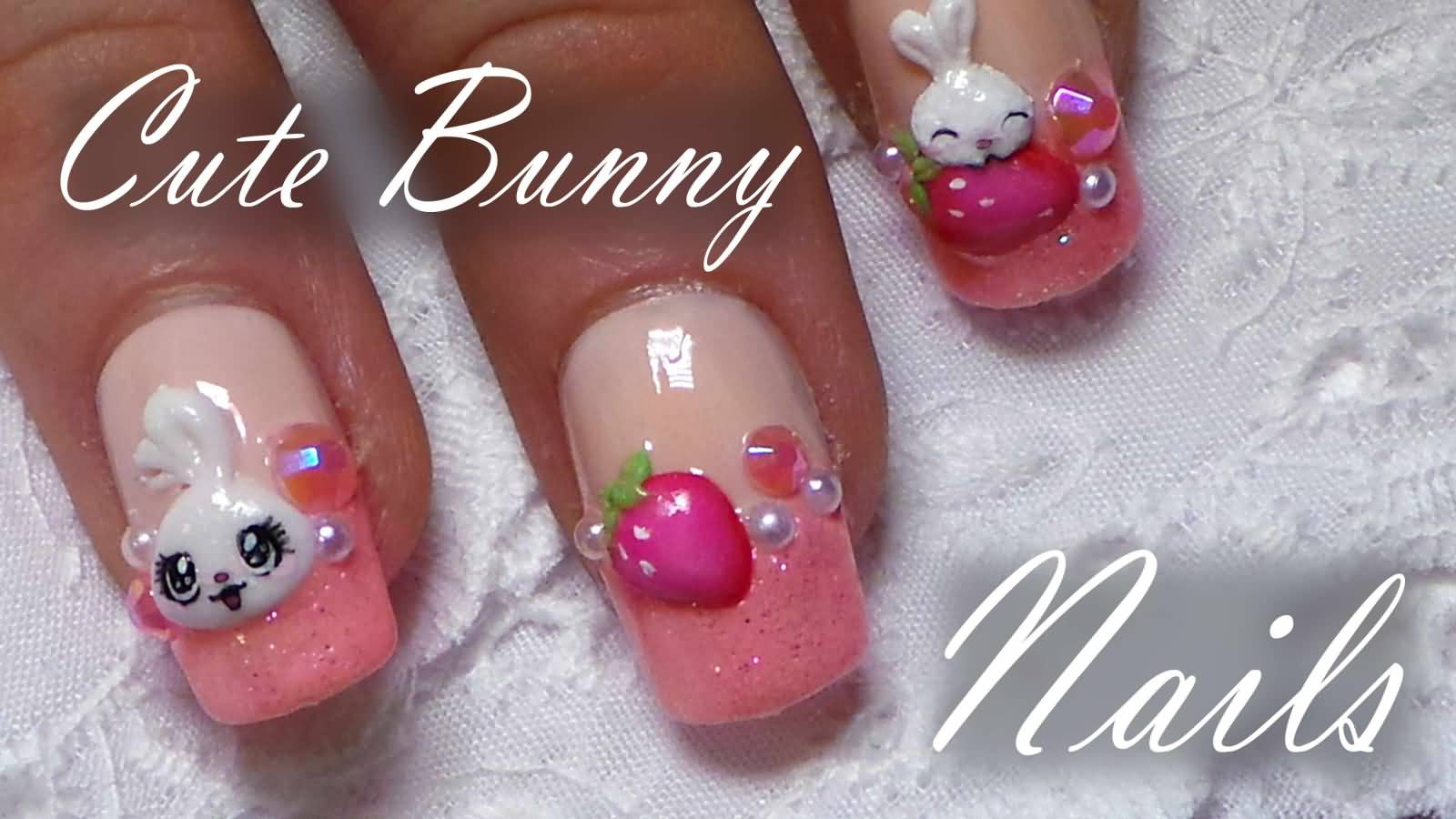 Cute Bunny And Strawberry 3d Nail Art