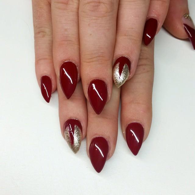 Dark Red And Silver Sti Nail Art