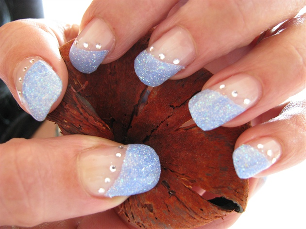 Pale Blue Nail Art Design With Glitter And Be On Top