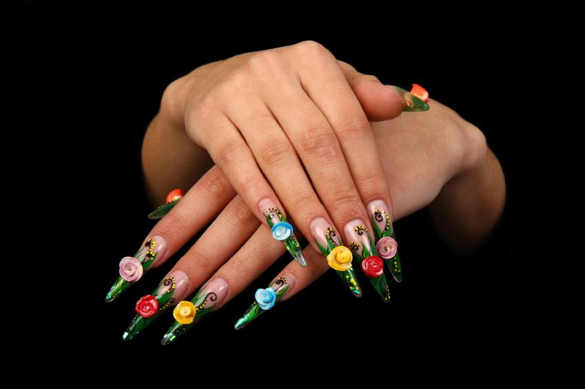 Long Nails With Multicolored 3d Rose Flowers Nail Art