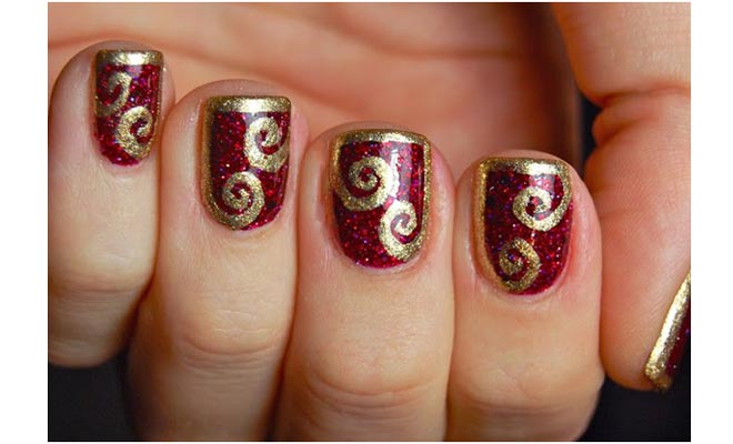 Maroon Nails With Gold Glitter Spiral Design Nail Art