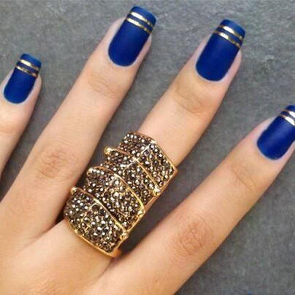 Matte Royal Blue With Golden Stripes Design
