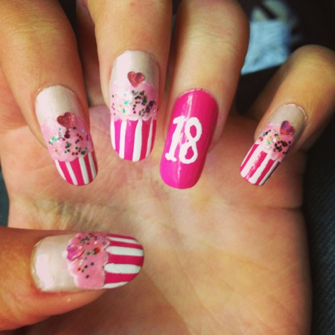 Pink And White Stripes Birthday Cupcakes With Accent 18 Number Nail Art
