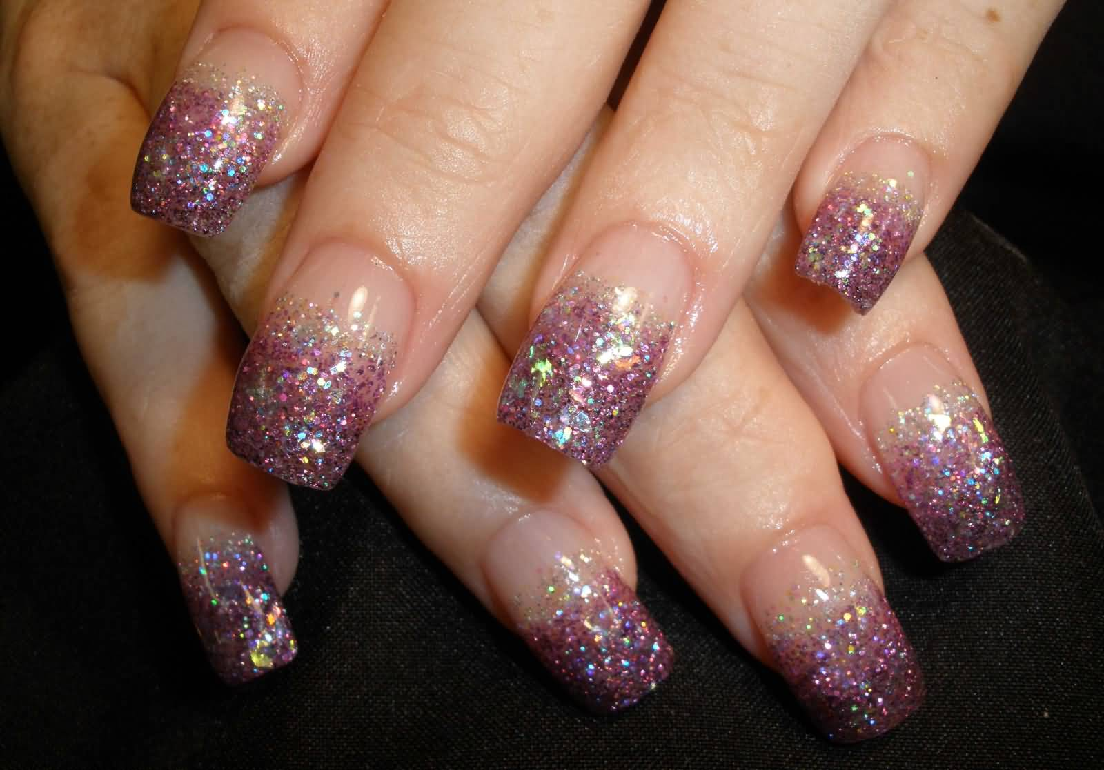 Pink Glitter Tip Nail Art Design