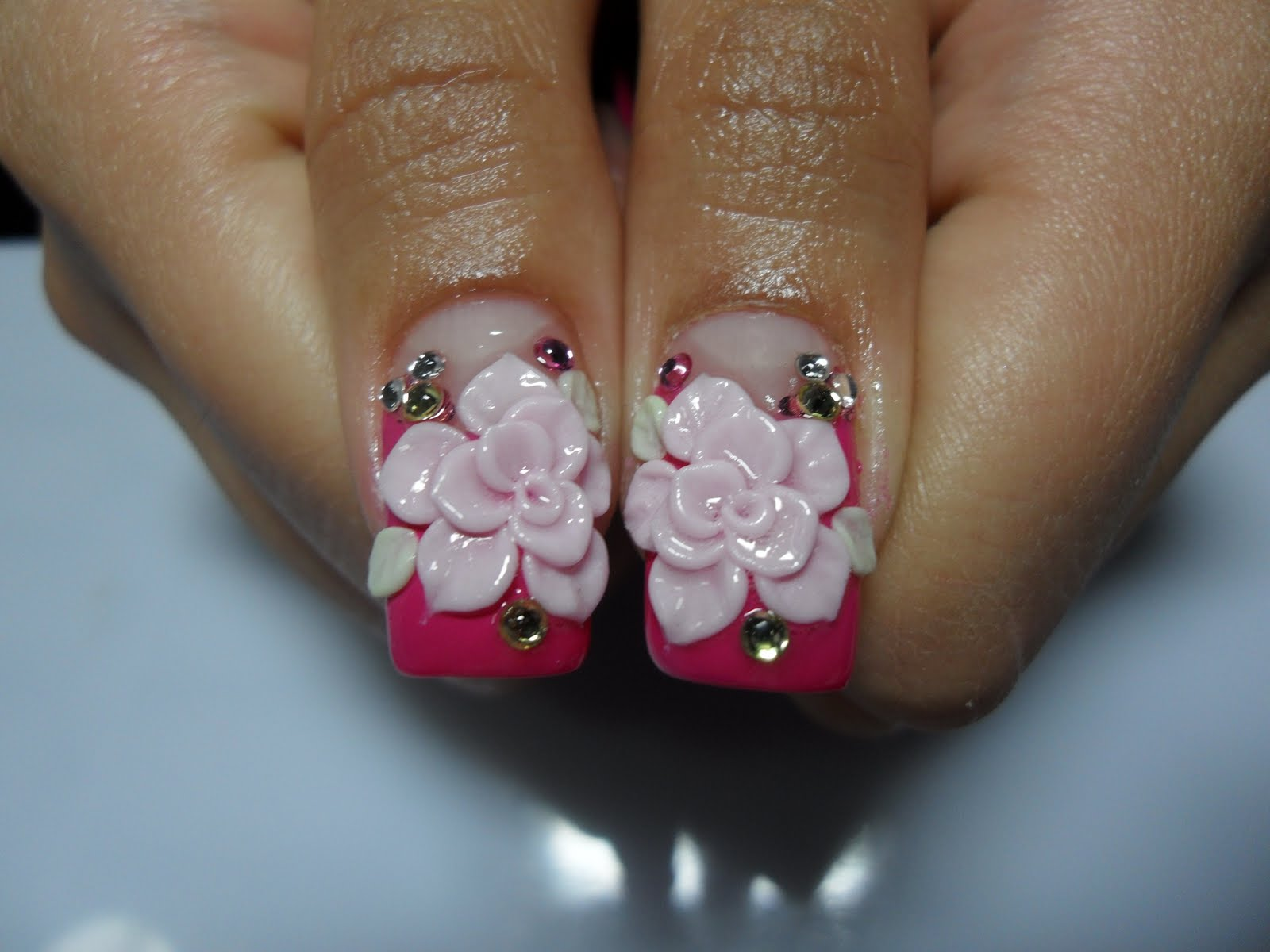 Pink Tip Nails With 3d Rose Flowers Nail Art