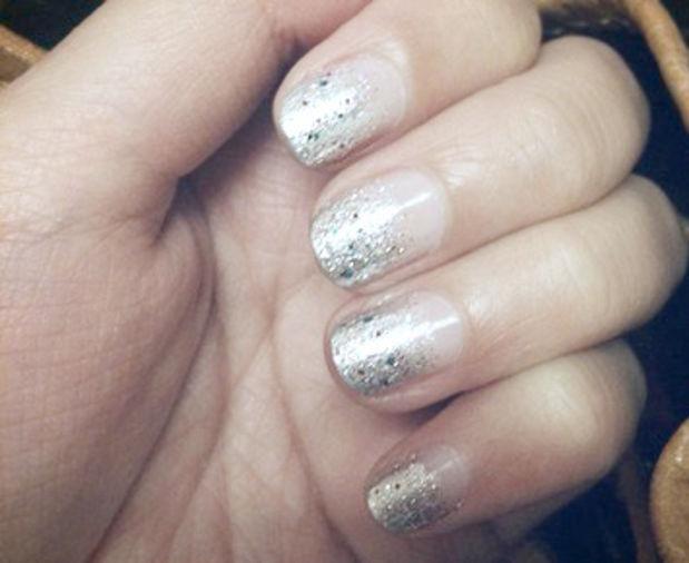 Silver Glitter Tip Nail Art