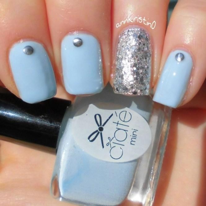 Nailart Abstract Blue Silver New Year