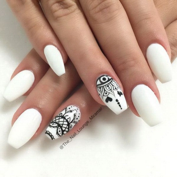 Long white nails with black art