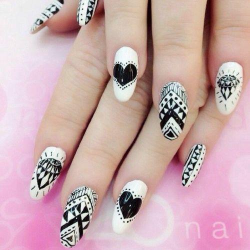 Acrylic Black And White Nail Art Designs Idea