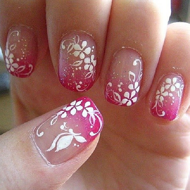 Pink Tip With White Acrylic Flowers And Erfly Nail Art