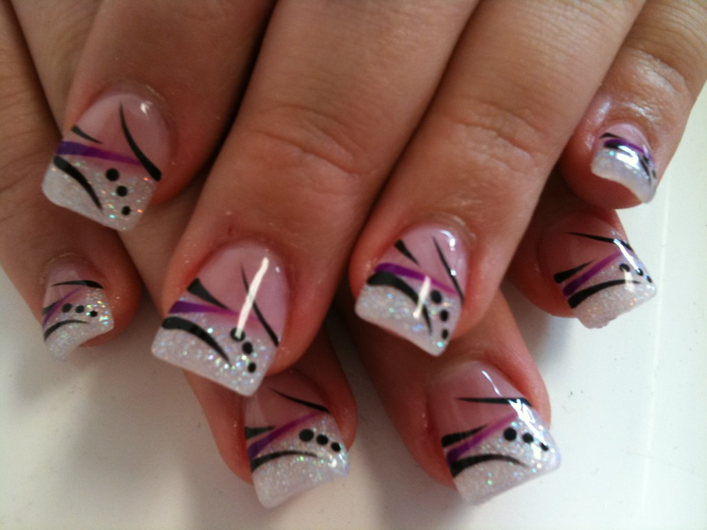 White Gel Nails With Black And Pink Stripes