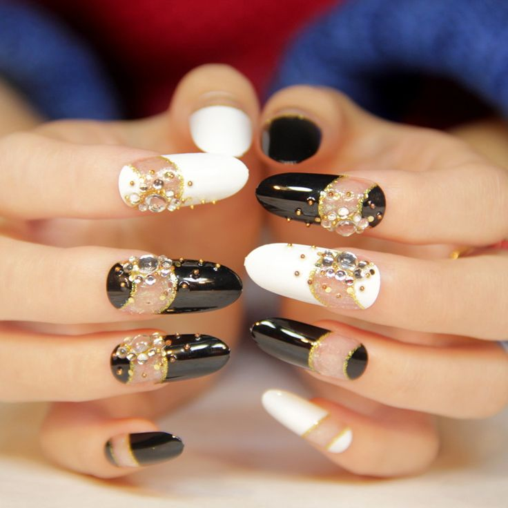 Black And White Anese Nail Art Design